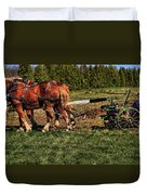 Old Time Horse Plowing Duvet Cover