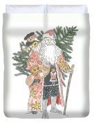 Old Time Santa With Teddy Duvet Cover