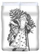 Old Time Santa With Violin Duvet Cover