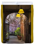 Old Town Courtyard In Victoria British Columbia Duvet Cover by Ben and Raisa Gertsberg