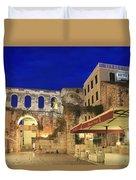 Old Town Of Split At Dusk Croatia Duvet Cover