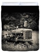 Old Tractor Black And White Square Duvet Cover