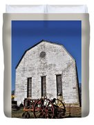 Old Tractor In Front Of Hay Barn Duvet Cover