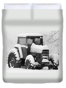 Old Tractor In The Snow Duvet Cover