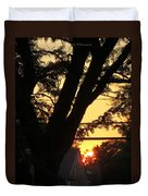 Old Tree And Sunset Duvet Cover