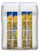 Old Triple16 Pane White Window Colorful Autumn Aspen Forest View Duvet Cover