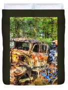 Old Trucks And Old Bicycles Duvet Cover