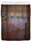 Old Vintage Door With Chain  Duvet Cover