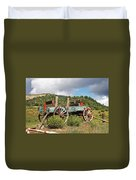 Old Wagon Along The Road Duvet Cover