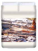 Old Weathered Log On The Sea Shore Duvet Cover