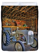 Old White Ford Tractor Duvet Cover