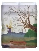 Old Willow And Boat Duvet Cover