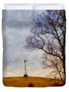 Old Windmill On The Farm Duvet Cover