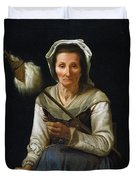 Old Woman Spinning, 1646-48 Duvet Cover