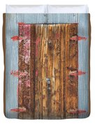Old Wood Door With Six Red Hinges Duvet Cover