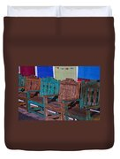 Old Wooden Benches Duvet Cover