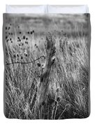Old Wooden Fence Post In A Field Duvet Cover
