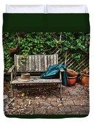 Old Wooden Garden Bench  Duvet Cover