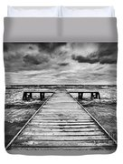 Old Wooden Jetty During Storm On The Sea Duvet Cover