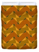 Olive Green And Orange Chevron Collage Duvet Cover