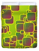 Olive Green Squares Duvet Cover