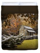Oliver's Log Cabin During Fall In The Great Smoky Mountains Duvet Cover
