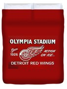 Olympia Stadium - Detroit Red Wings Sign Duvet Cover