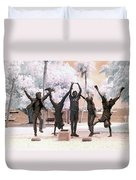 Olympic Wannabes Sculpture By Glenna Goodacre Near Infrared Duvet Cover