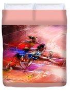 Olympics Heptathlon Hurdles 01 Duvet Cover