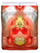 Om - Red Meditation - Abstract Art By Sharon Cummings Duvet Cover