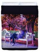 On A Bench Under An Umbrella In Autumn Duvet Cover