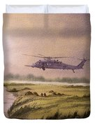 On A Mission - Hh60g Helicopter Duvet Cover