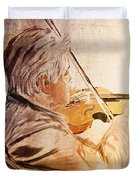 On Stage The Violinist Duvet Cover