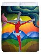 On The Cross Duvet Cover by Emil Parrag