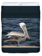 On The Edge - Brown Pelican Duvet Cover