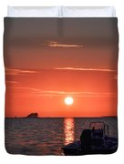 On The Gulf At Sunset Duvet Cover