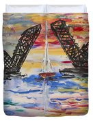 On The Hour. The Sailboat And The Steel Bridge Duvet Cover by Andrew J Andropolis