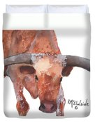 On The Level Texas Longhorn Watercolor Painting By Kmcelwaine Duvet Cover