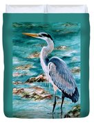 On The Rocks Great Blue Heron Duvet Cover by Roxanne Tobaison