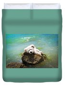 On The Rocks - Teddy Bear Art By William Patrick And Sharon Cummings Duvet Cover