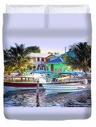 On The Waterfront Caye Caulker Belize Duvet Cover