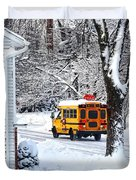 On The Way To School In Winter Duvet Cover