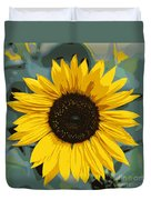 One Bright Sunflower - Digital Art Duvet Cover