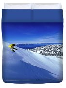 One Man Skiing In Powder High Duvet Cover