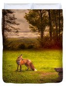 One Red Fox Duvet Cover by Bob Orsillo