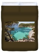 One Step To Paradise - Cala Mitjana Beach In Menorca Is A Turquoise A Cristaline Water Paradise Duvet Cover