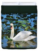 One Swan In The Lilies Duvet Cover