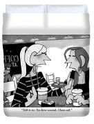 One Woman Speaks To Another Over Coffee Duvet Cover by William Haefeli
