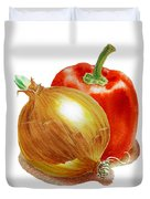 Onion And Red Pepper Duvet Cover
