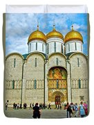 Onion Domes On Cathedral Of The Assumption Inside Kremlin In Moscow-russia Duvet Cover